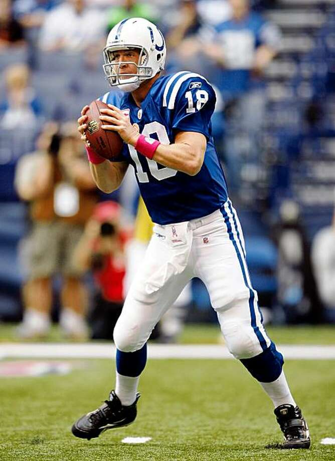 INDIANAPOLIS - OCTOBER 04:  Peyton Manning #18 of the Indianapolis Colts throws the ball during the NFL game against the Seattle Seahawks at Lucas Oil Stadium on October 4, 2009 in Indianapolis, Indiana. The Colts won 34-17.  (Photo by Andy Lyons/Getty Images) Photo: Andy Lyons, Getty Images