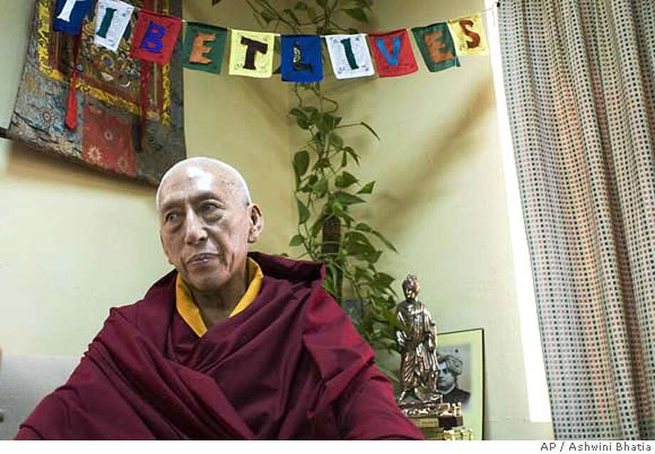 ###Live Caption:Samdhong Rinpoche, the prime minister of the Tibetan government-in-exile, looks on during an interview with the Associated Press in Dharmsala, India, Monday, May 5, 2008. (AP Photo/Ashwini Bhatia)###Caption History:Samdhong Rinpoche, the prime minister of the Tibetan government-in-exile, looks on during an interview with the Associated Press in Dharmsala, India, Monday, May 5, 2008. (AP Photo/Ashwini Bhatia)###Notes:Samdhong Rinpoche###Special Instructions: Photo: Ashwini Bhatia