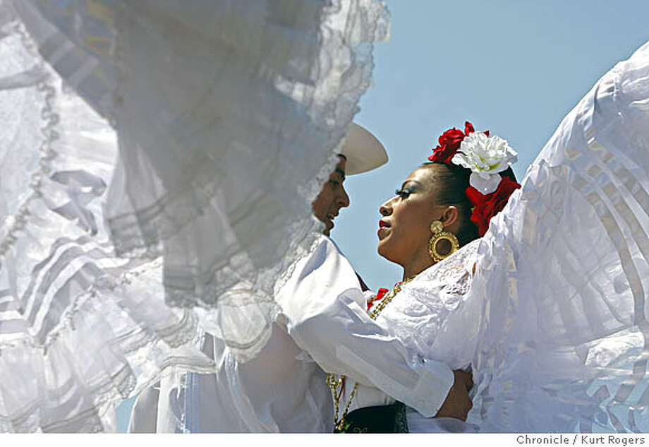 Mario Martinez and Samantha Romero of Mexico Danza from Hayward dance at the Cinco de Mayo celebration in Dolores park. On Saturday May 3, 2008 in San Francisco, Calif Photo By Kurt Rogers / San Francisco Chronicle Photo: Kurt Rogers