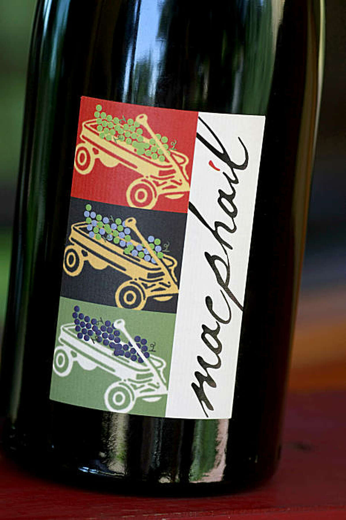 The MacPhail winery label was inspired by his first red wagon which sits on the porch of his home. Winemaker James MacPhail at his Healdsburg winery on Magnolia Drive just off Westside Thursday September 24, 2009.