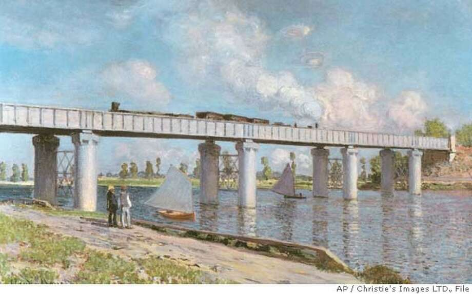 "** FILE ** In this file photo released by Christie's Auction House in New York, Thursday, May 1, 2008, an 1873 oil on canvass by Claude Monet entitled ""Le Pont du chemin de fer a Argenteuil "" is shown. The painting sold for $37 million (Euros 23, 791,000) on Tuesday, May 6, 2008 and was last auctioned in 1988 at Christie's for $12.4 million. (AP Photo/Christie's Images LTD., File) **NO SALES** Photo: ..."