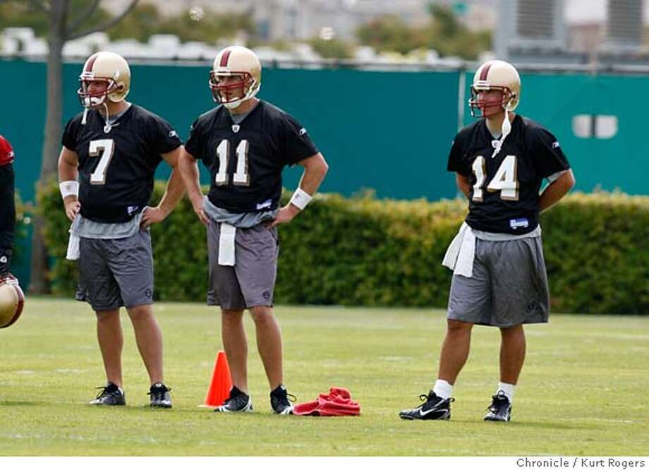 ###Live Caption:quarterbacks Drew Olson Alex Smith and J.T.O'Sullivan watch as Shaun Hill takes snaps during San Francisco 49er work out at the 49ers head quarters. On Friday May 2, 2008 in Santa Clara, Calif Photo By Kurt Rogers / San Francisco Chronicle###Caption History:quarterbacks Drew Olson Alex Smith and J.T.O'Sullivan watch as Shaun Hill takes snaps during San Francisco 49er work out at the 49ers head quarters. On Friday May 2, 2008 in Santa Clara, Calif Photo By Kurt Rogers / San Francisco Chronicle###Notes:San Francisco 49ers mini camp###Special Instructions:MANDATORY CREDIT FOR PHOTOG AND SAN FRANCISCO CHRONICLE/NO SALES-MAGS OUT Photo: Kurt Rogers