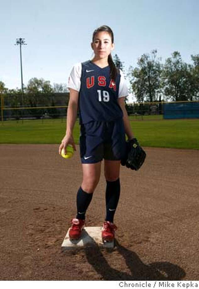 Vicky Galindo, who has already been chosen for the US Olympic Softball team at the Beijing Olympics, poses for a portrait on Monday, April, 17, 2008 in San Jose, Calif.  Photo by Mike Kepka / San Francisco Chronicle Photo: Mike Kepka