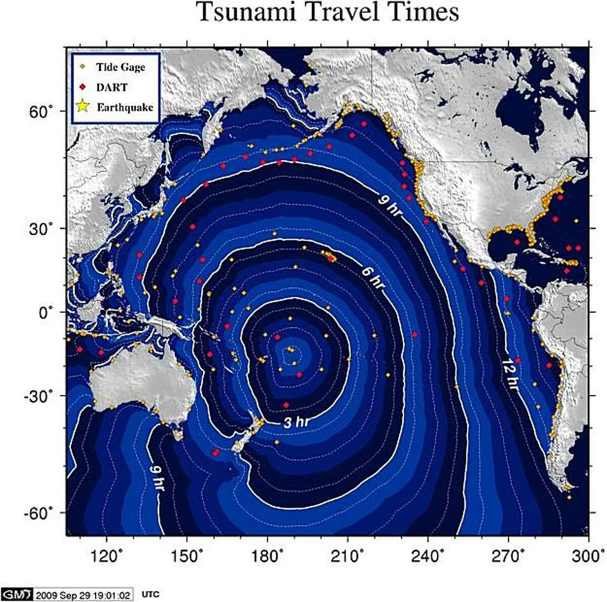 This graphic provided by the National Oceanic and Atmospheric Administration (NOAA) shows tsunami travel times following an earthquake with a magnitude of 8.0 rocked the island nation of Samoa, causing a tsunami. At least five people are reported to have been killed after a massive earthquake and tsunami hit Samoa, the New Zealand deputy high commissioner to the Samoan capital Apia, David Dolphin said. AFP PHOTO/NOAA/HO ++RESTRICTED TO EDITORIAL USE++ (Photo credit should read -/AFP/Getty Images)