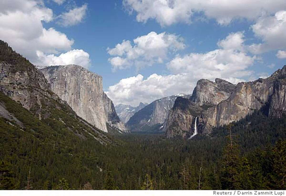 Yosemite Valley, with its landmarks El Capitan (left), Half Dome (center) and Bridalveil Fall (right), is shown on April 19, 2008.