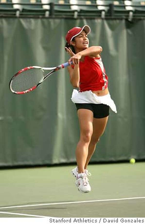 Hilary Barte plays during Stanford's win over the University of Arizona at the Taube Family Tennis Stadium on March 7, 2008 in Stanford, Calif. Courtesy of David Gonzales / Stanford Athletics Ran on: 05-07-2008  Hilary Barte started the season as a secondary player for the Cardinal, but is now No. 3 in the nation. Photo: David Gonzales