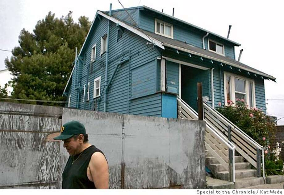 With the scene of the shooting in the background, Robert Villegas, a friend and neighbor of Frank Spillman, 94, said the man who alledgedly shot and killed his landlord, Kulbushan Gupta Thursday evening has lived in the neighborhood at least 35-years in the 42nd Avenue area neighborhood in Oakland, Calif. on Friday, May 2, 2008.  Photo by Kat Wade / Special to the Chronicle Photo: Kat Wade