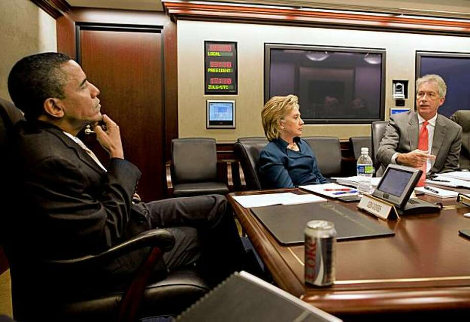 In this photo released by the White House, President Barack Obama meets with his national security team including Undersecretary of State Bill Burns, right, and Secretary of State Hillary Rodham Clinton Wednesday, Sept. 30, 2009, in the Situation Room at the White House in Washington. (AP Photo/The White House, Pete Souza) Photo: Pete Souza, AP