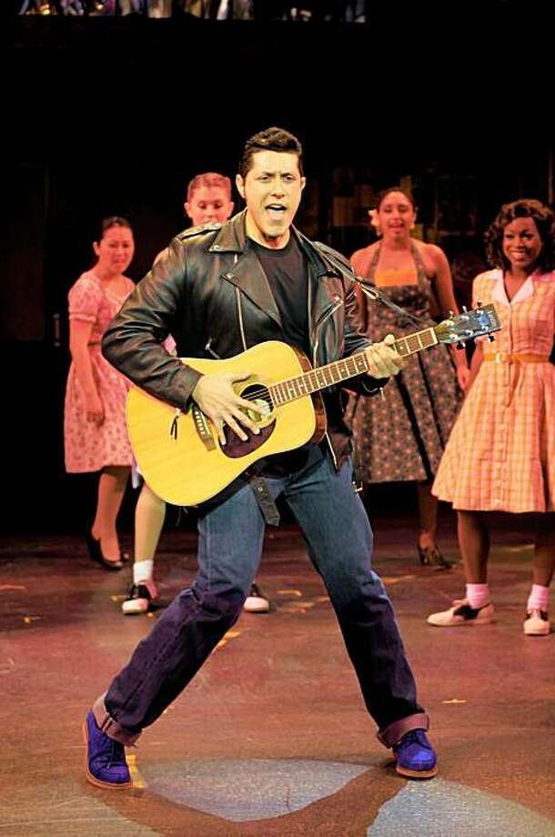 "David Sattler (center with guitar) and the cast of ""All Shook Up"" at Center Rep Photo: Kevinberne.com"