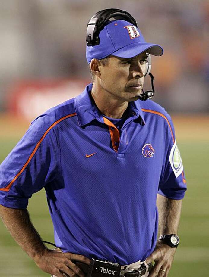FILE - In this Sept. 26, 2009, file photo, Boise State head football coach Chris Petersen is seen on the sidelines during the second half of a NCAA college football game against Bowling Green in Bowling Green, Ohio. At No. 5 in the two polls used by the Bowl Championship Series, Boise State is the highest-ranked non-BCS team in the BCS' 12-year history. That's created a lot of buzz about whether the Broncos deserve a berth in the BCS title game if they run the table. (AP Photo/J.D. Pooley, File) Photo: J.D. Pooley, AP