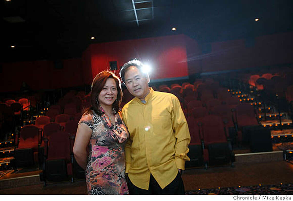Lida and Frank Lee pose for a portrait in the main showing room at the Marina Theater on Monday April, 29, 2008 in San Francisco, Calif. The theater, on Chestnut street, is set to open this Friday after after 3 years of preparations. Photo by Mike Kepka / San Francisco Chronicle