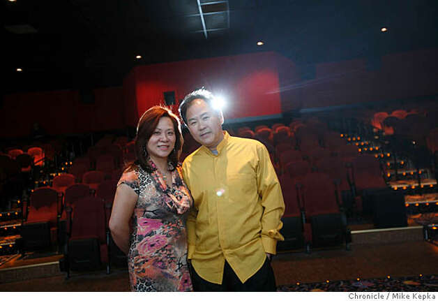 Lida and Frank Lee pose for a portrait in the main showing room at the Marina Theater on Monday April, 29, 2008 in San Francisco, Calif. The theater, on Chestnut street, is set to open this Friday after after 3 years of preparations.  Photo by Mike Kepka / San Francisco Chronicle Photo: Kepka, Mike
