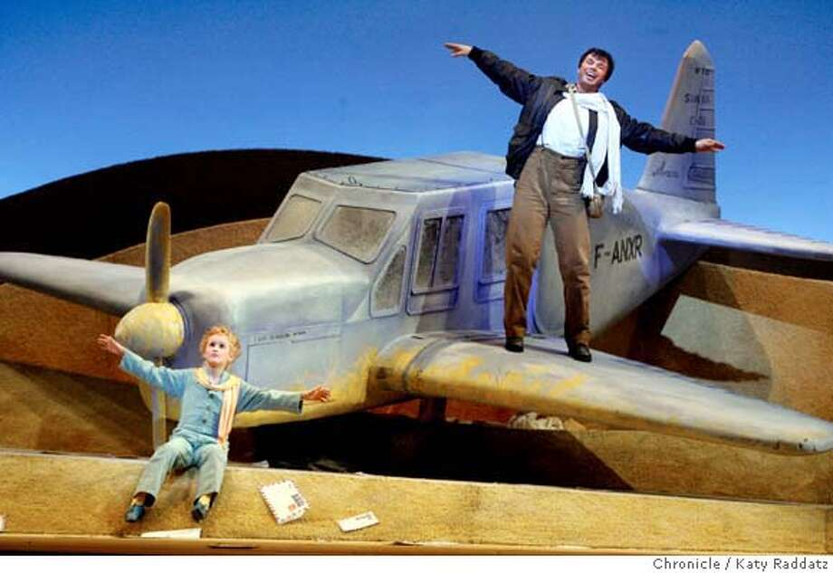 """Eugene Brancoveanu, right, as The Pilot, describes flying to Tovi Wayne, left, as The Little Prince, as The San Francisco Opera and Cal Performances collaborate to present the local premier of """"The Little Prince"""" in a dress rehearsal at Zellerbach Hall in Berkeley, Calif. on Wednesday, April 30, 2008.  Photo by Katy Raddatz / San Francisco Chronicle Photo: KATY RADDATZ"""