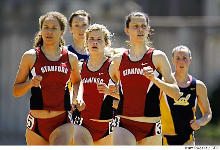 The Women's 1500 Meter Run Lauren Centrowitz Stanford, Mackenzie Pierce Cal, Maddie Duhon Stanford, Alicia Follmar Stanford and Clelsea Reilly Cal at Edwards Stadium in Berkeley   On Saturday April 12,  2008 in Berkeley , CalifPhoto By Kurt Rogers / San Francisco Chronicle Photo: Kurt Rogers, SFC