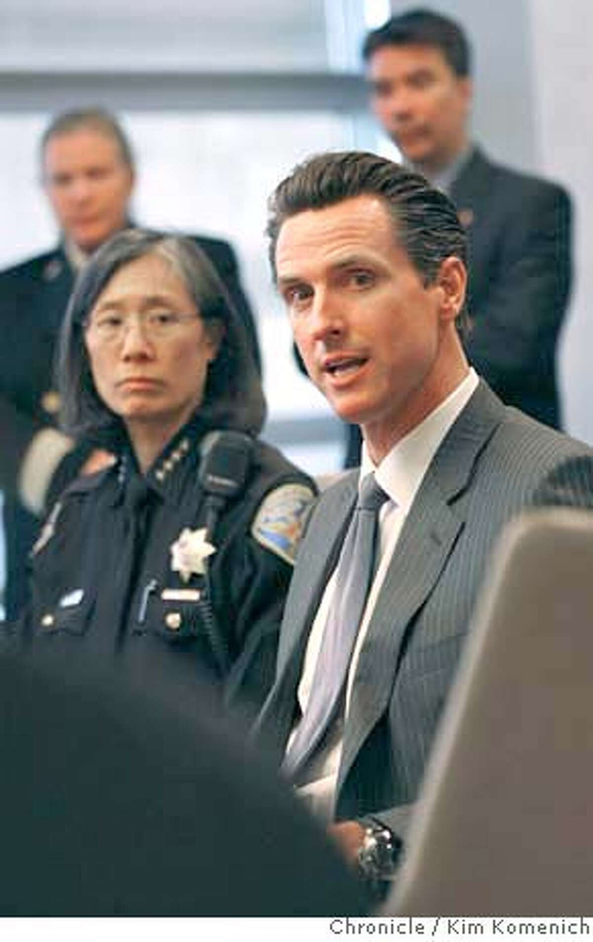###Live Caption:San Francisco Polic Chief Heather Fong, left, and Mayor Gavin Newsom explain their decisions regarding the Olympic Torch Relay at a press conference at San Francisco International Airport on Wednesday, April 9, 2008 Photo by Kim Komenich / San Francisco Chronicle###Caption History:San Francisco Polic Chief Heather Fong, left, and Mayor Gavin Newsom explain their decisions regarding the Olympic Torch Relay at a press conference at San Francisco International Airport on Wednesday, April 9, 2008 Photo by Kim Komenich / San Francisco Chronicle Ran on: 04-11-2008 Redirection: Mayor Gavin Newsom and Police Chief Heather Fong explain their decision to change the torch-relay route. Ran on: 04-11-2008 Ran on: 04-11-2008 Ran on: 04-17-2008 Gavin Newsom###Notes:###Special Instructions:MANDATORY CREDIT FOR PHOTOG AND SF CHRONICLE/NO SALES-MAGS OUT