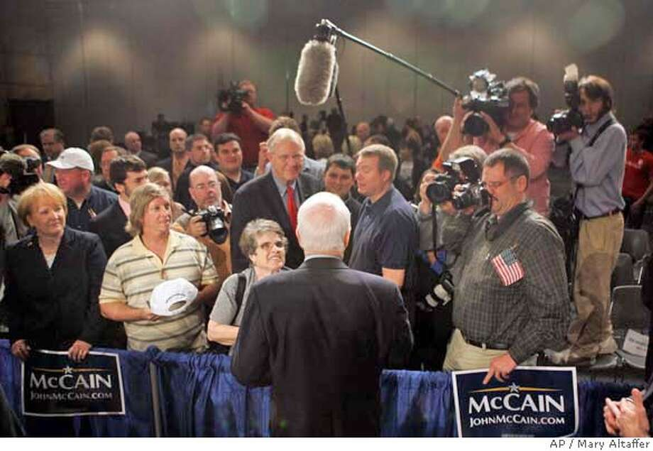 ###Live Caption:Republican presidential candidate, Sen. John McCain, R-Ariz., greets supporters after a town hall meeting Thursday, May 1, 2008 in Des Moines, Iowa. (AP Photo/Mary Altaffer)###Caption History:Republican presidential candidate, Sen. John McCain, R-Ariz., greets supporters after a town hall meeting Thursday, May 1, 2008 in Des Moines, Iowa. (AP Photo/Mary Altaffer)###Notes:John McCain###Special Instructions: Photo: Mary Altaffer