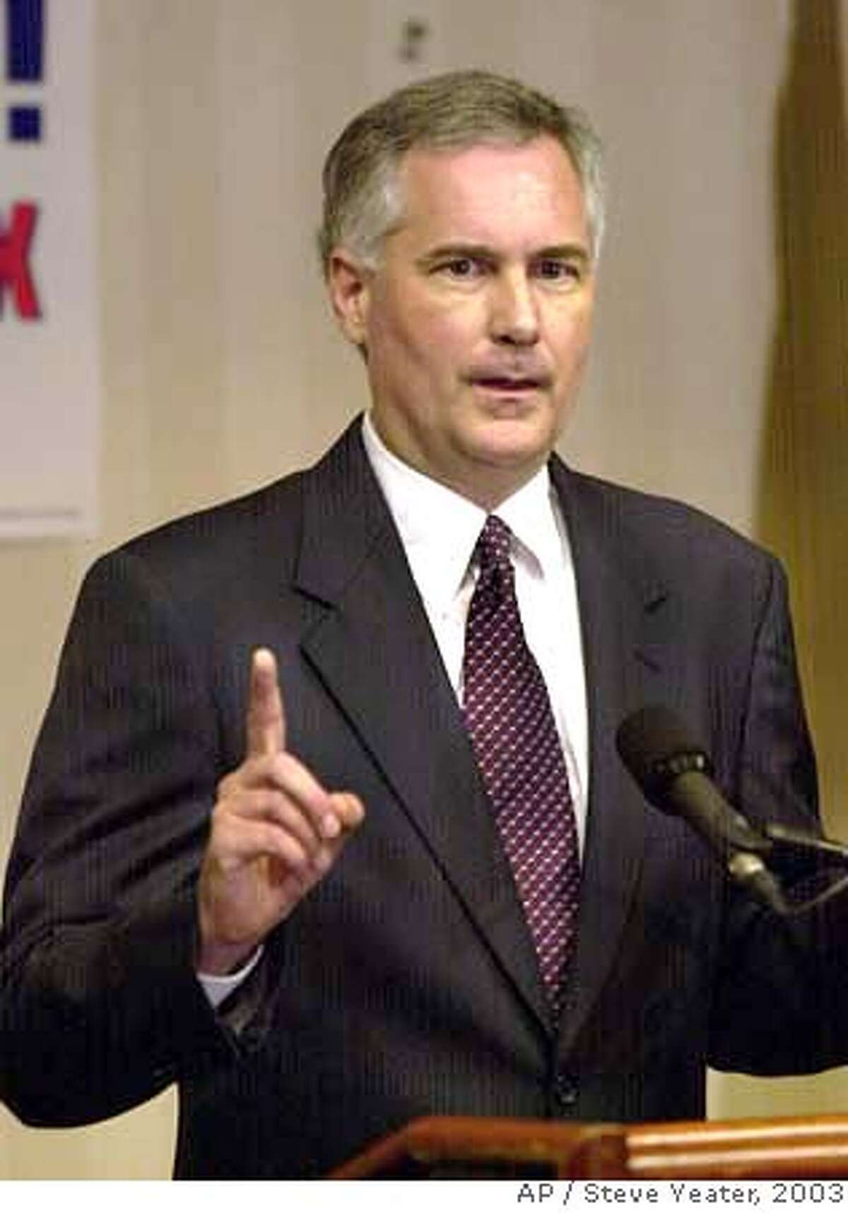 ###Live Caption:Republican candidate for governor state Sen. Tom McClintock, R-Nothridge, answers questions from reporters after he introduced his new television commercial during a news conference in Sacramento, Calif., on Friday, Sept. 26, 2003.(AP Photo/Steve Yeater)###Caption History:Republican candidate for governor state Sen. Tom McClintock, R-Nothridge, answers questions from reporters after he introduced his new television commercial during a news conference in Sacramento, Calif., on Friday, Sept. 26, 2003.(AP Photo/Steve Yeater) CAT w/MONEY27 Cruz Bustamante Ran on: 10-22-2006 Ran on: 10-23-2006###Notes:14p9x3.5inch###Special Instructions:CAT ###11/18/2003##5star#A18#0421410271