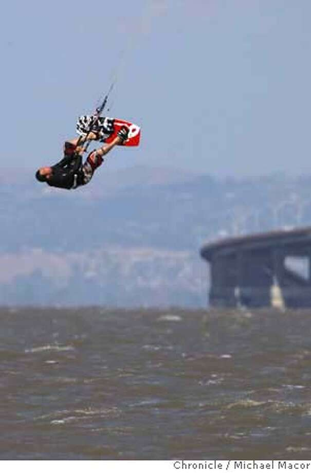 ###Live Caption:Fred Stemmelin of Los Altos is lifted high into the air while kite boarding off of San Mateo, Calif., April 29, 2008, in San Francisco Bay as winds as high as 40 miles per hour sweep across the Bay Area.Photo by Michael Macor/ San Francisco Chronicle###Caption History:Fred Stemmelin of Los Altos is lifted high into the air while kite boarding off of San Mateo, Calif., April 29, 2008, in San Francisco Bay as winds as high as 40 miles per hour sweep across the Bay Area.Photo by Michael Macor/ San Francisco Chronicle###Notes:Wind gusts up to 40 miles per hour swept across San Francisco Bay along the San Mateo shoreline bringing out wind surfers and kite boarders to take advantage of the winds.###Special Instructions:Mandatory credit for Photographer and San Francisco Chronicle No sales/ Magazines Out Photo: Michael Macor