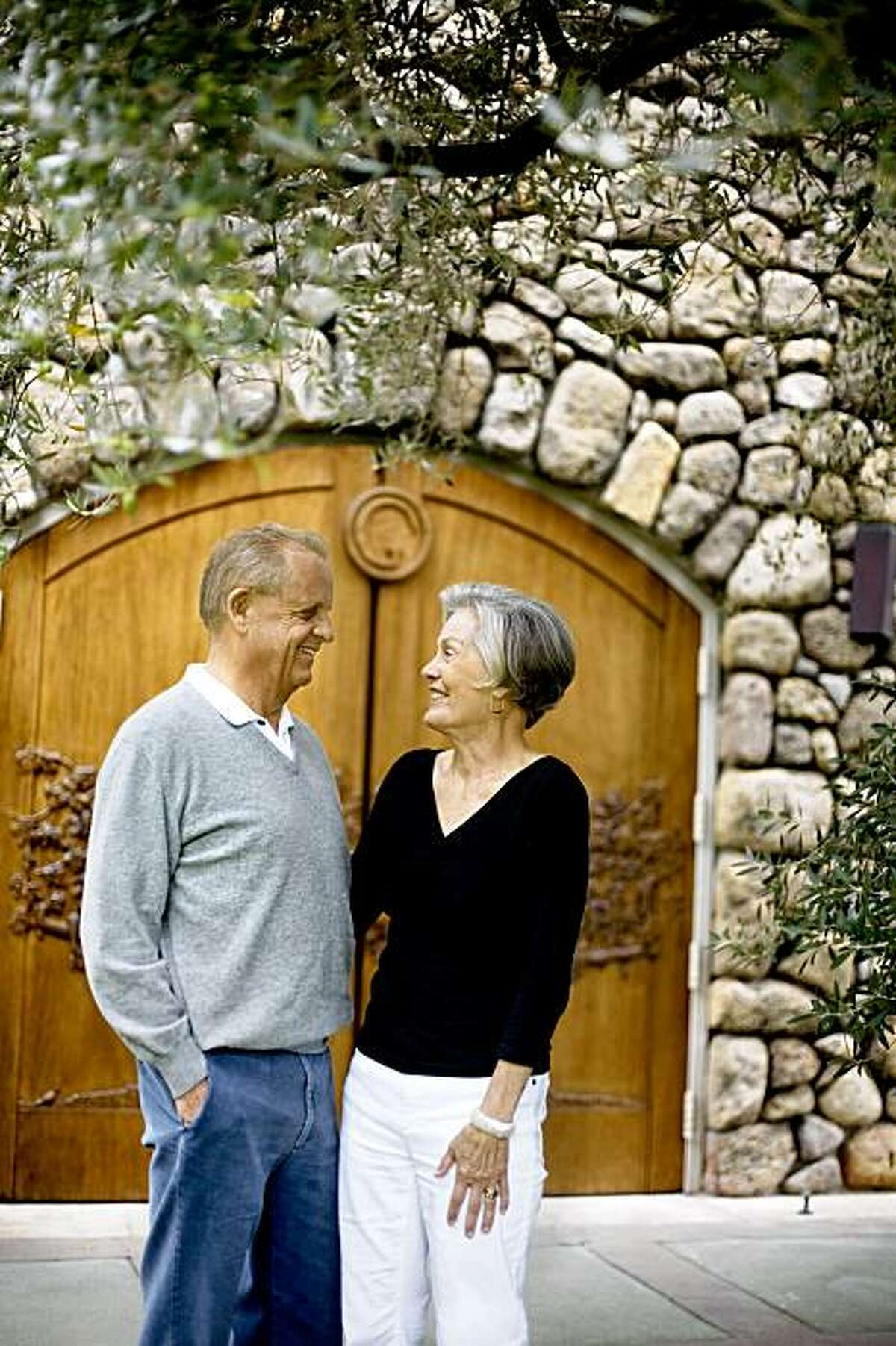 Vintner Dick Grace, who created the first cult Cabernet, and his wife, Ann, of Grace Family Vineyards, in St. Helena, together outside their wine cellar, on Monday, August 31, 2009. They dedicate their life to nonprofit causes throughout Asia.