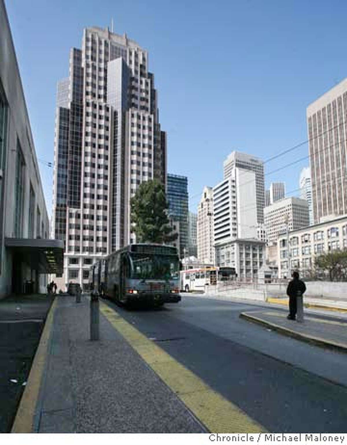 The skyline around the San Francisco Transbay Terminal can change in the near future when San Francisco city officials next week propose new zoning rules that would allow extra-tall towers on a few sites around the Transbay Terminal in San Francisco, Calif. Photo taken on April 24, 2008 in front of the terminal looking towards Mission and 1st Streets. Photo by Michael Maloney / San Francisco Chronicle