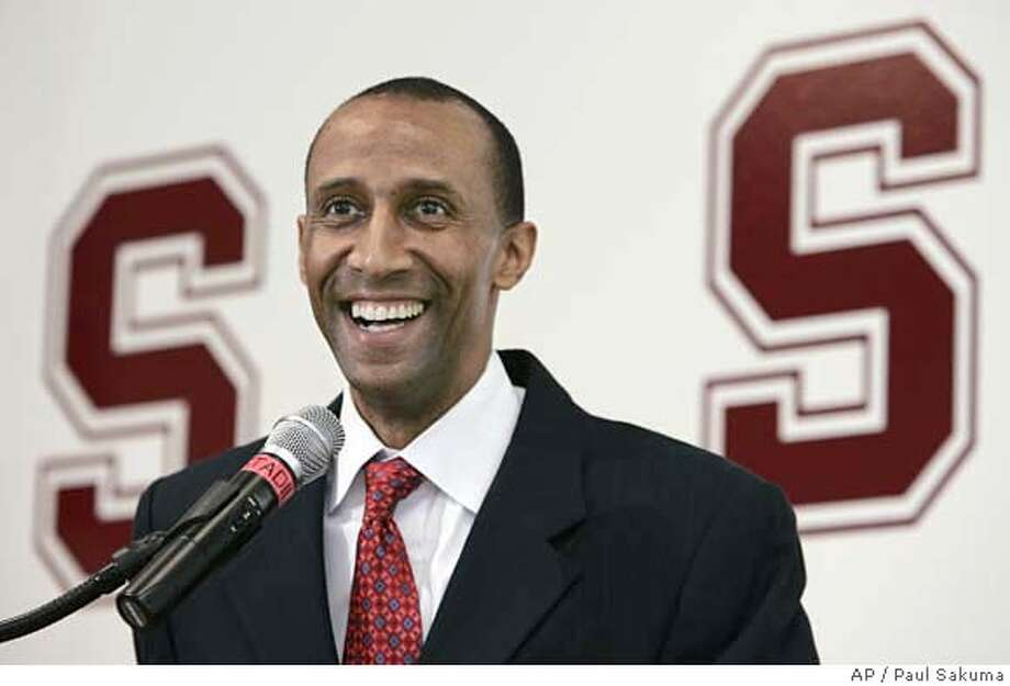 ###Live Caption:New Stanford head basketball coach Johnny Dawkins smiles as he is introduced at a news conference in Stanford, Calif., Monday, April 28, 2008. Dawkins is a former assistant head coach at Duke. (AP Photo/Paul Sakuma)###Caption History:New Stanford head basketball coach Johnny Dawkins smiles as he is introduced at a news conference in Stanford, Calif., Monday, April 28, 2008. Dawkins is a former assistant head coach at Duke. (AP Photo/Paul Sakuma)###Notes:Johnny Dawkins###Special Instructions:EFE OUT Photo: Paul Sakuma