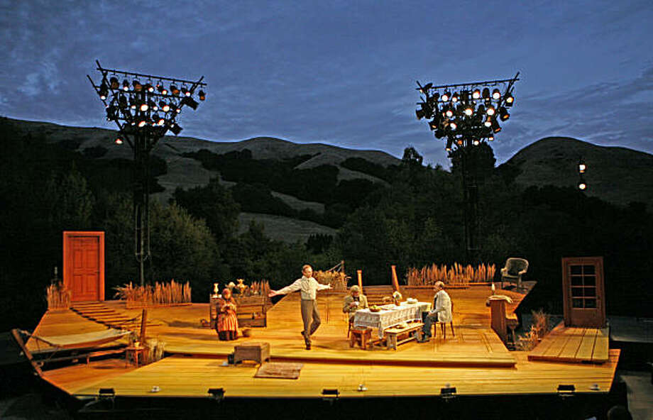"From left, Barbara Oliver (Marina), Dan Hiatt (Ivan Vanya Voynitsky),  Howard Swain (Ilya Telegin) and Andy Murray (Mikhail Astrov) during final dress rehearsal for California Shakespeare Theater's ""Uncle Vanya,""  at the Bruns Amphitheater in Orinda, Calif., on August 5, 2008. Photo: Michael Maloney, The Chronicle"