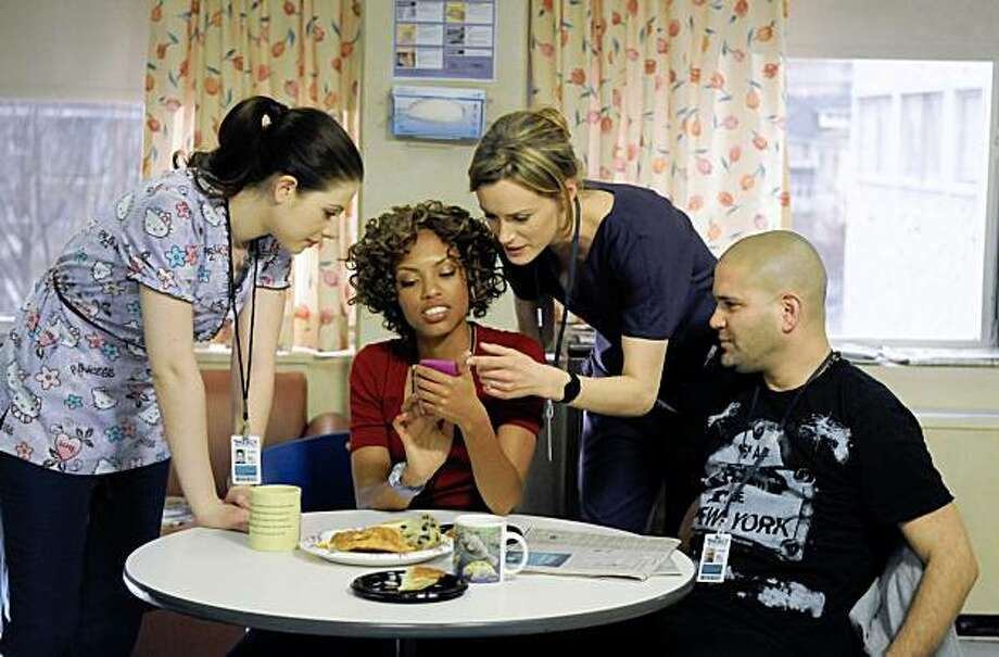 "MERCY -- ""Can We Get That Drink Now?"" Episode 101 -- Pictured: (l-r) Michelle Trachtenberg as Chloe Payne, Jaime Lee Kirchner as Sonia Jimenez, Taylor Schilling as Veronica Callahan, Guillermo Diaz as Angel Garcia... Photo: Ali Goldstein Ali Goldstein, NBC © NBC Universal, Inc."