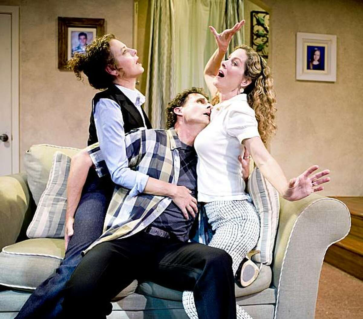 Stacy Ross (left), Jackson Davis and Marcia Pizzo play parents at play when the kids go to school in Billy Aronson's