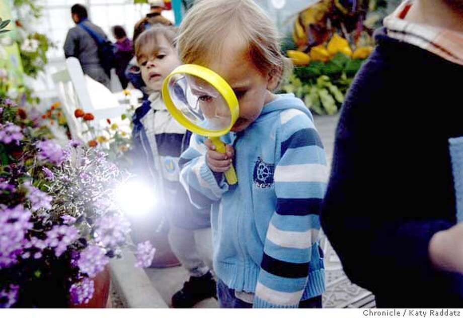 "###Live Caption:Theo Mai, age 2 and a half, uses his magnifying glass to find moths and butterflies in a lantana at the new nocturnal butterfly exhibit called ""Night Safari"" at the Conservatory of Flowers in Golden Gate Park in San Francisco, Calif. on Wednesday, April 23, 2008.  Photo by Katy Raddatz / San Francisco Chronicle###Caption History:Theo Mai, age 2 and a half, uses his magnifying glass to find moths and butterflies in a lantana at the new nocturnal butterfly exhibit called ""Night Safari"" at the Conservatory of Flowers in Golden Gate Park in San Francisco, Calif. on Wednesday, April 23, 2008.  Photo by Katy Raddatz / San Francisco Chronicle###Notes:Theo Mai, lantana###Special Instructions:MANDATORY CREDIT FOR PHOTOG AND SAN FRANCISCO CHRONICLE/NO SALES-MAGS OUT Photo: KATY RADDATZ"
