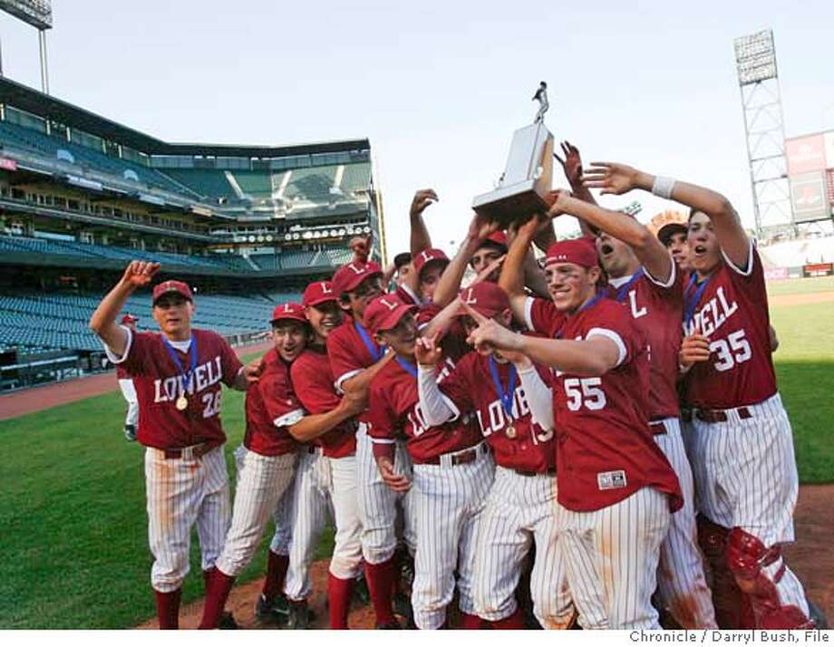 ###Live Caption:###Caption History: .JPG  Lowell High School teammates celebrate their win over George Wahington High School. Lowell High School defeats George Washington High School 8-3 to take the AAA San Francisco Section title game at AT&T Park in San Francisco, CA, on Wednesday, May, 16, 2007. photo taken: 5/16/07  Darryl Bush / The Chronicle ** roster (cq)###Notes:###Special Instructions:MANDATORY CREDIT FOR PHOTOG AND SF CHRONICLE/NO SALES-MAGS OUT Photo: Darryl Bush