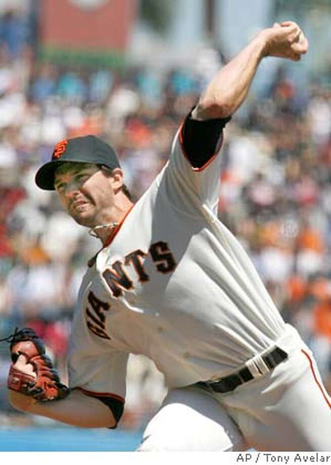 San Francisco Giants starting pitcher Barry Zito throws to the Cincinnati Reds in the first inning of a baseball game Sunday, April 27, 2008, in San Francisco. (AP Photo/ Tony Avelar) Photo: Tony Avelar