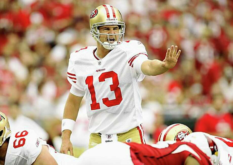 Quarterback Shaun Hill calls a play in the 49ers' game against the Arizona Cardinals at the Universtity of Phoenix Stadium on Sunday. Photo: Christian Petersen, Getty Images