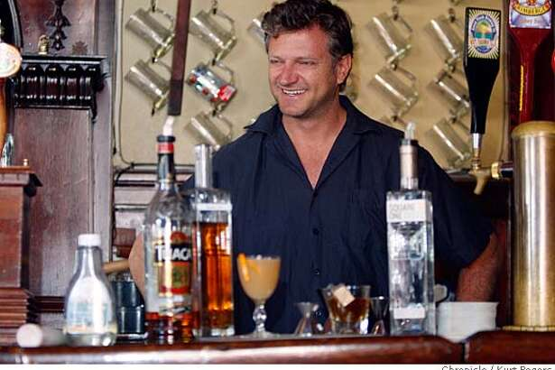 ###Live Caption: H. Joseph Ehrmann, owner of Elixir bar in the Mission District, making his Moonlight on the Peach cocktail. On Friday April 25 2008 in San Francisco, Calif Photo By Kurt Rogers / San Francisco Chronicle ###Caption History: H. Joseph Ehrmann, owner of Elixir bar in the Mission District, making his Moonlight on the Peach cocktail. On Friday April 25 2008 in San Francisco, Calif Photo By Kurt Rogers / San Francisco Chronicle ###Notes: H. Joseph Ehrmann ###Special Instructions: MANDATORY CREDIT FOR PHOTOG AND SAN FRANCISCO CHRONICLE/NO SALES-MAGS OUT