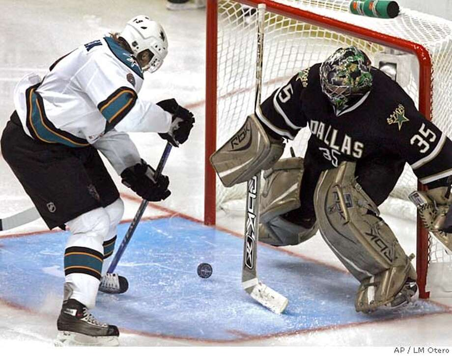 ###Live Caption:San Jose Sharks right wing Milan Michalek (9), of Czech Republic, scores a goal against Dallas Stars goalie Marty Turco (35) during the third period of Game 4 of the NHL Western Conference semifinals hockey game in Dallas, Wednesday, April 30, 2008. The Sharks won 2-1. (AP Photo/LM Otero)###Caption History:San Jose Sharks right wing Milan Michalek (9), of Czech Republic, scores a goal against Dallas Stars goalie Marty Turco (35) during the third period of Game 4 of the NHL Western Conference semifinals hockey game in Dallas, Wednesday, April 30, 2008. The Sharks won 2-1. (AP Photo/LM Otero)###Notes:Marty Turco, Milan Michalek###Special Instructions:EFE OUT Photo: LM Otero
