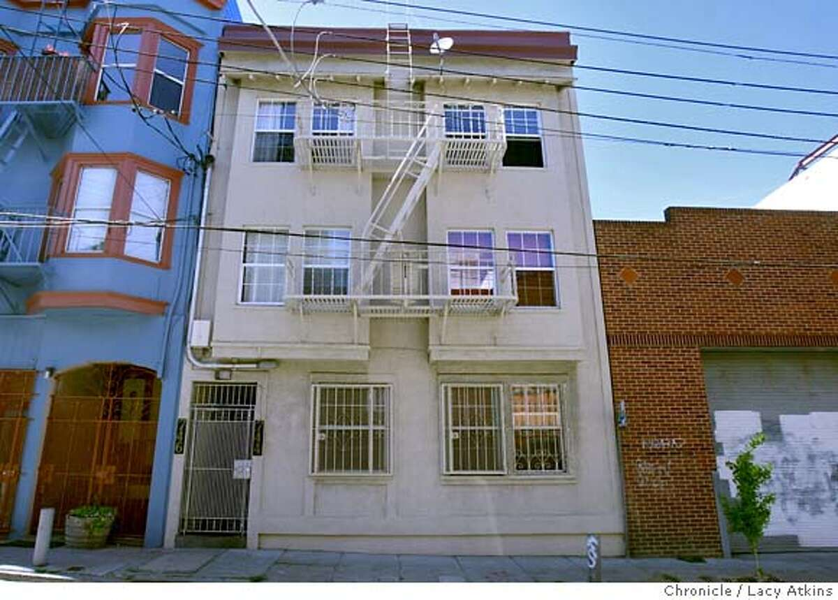 744-746 Clementina Street, April 26, 2008 in downtown San Francisco , Calif. is where the landlords allegedly terrorized their tenants. Lacy Atkins / San Francisco Chronicle Ran on: 04-27-2008 This building at 744-746 Clementina St. (right) is the site of a bizarre eviction battle.