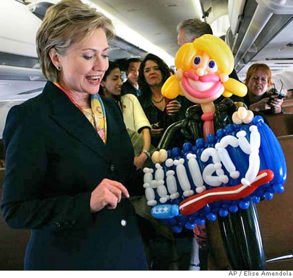 ###Live Caption:Democratic presidential hopeful Sen. Hillary Rodham Clinton, D-N.Y., shows the media a Hillary doll made of balloons given to her by a supporter, Tuesday, April 29, 2008, on her press plane in Raleigh, N.C. (AP Photo/Elise Amendola)###Caption History:Democratic presidential hopeful Sen. Hillary Rodham Clinton, D-N.Y., shows the media a Hillary doll made of balloons given to her by a supporter, Tuesday, April 29, 2008, on her press plane in Raleigh, N.C. (AP Photo/Elise Amendola)###Notes:Hillary Rodham Clinton###Special Instructions:
