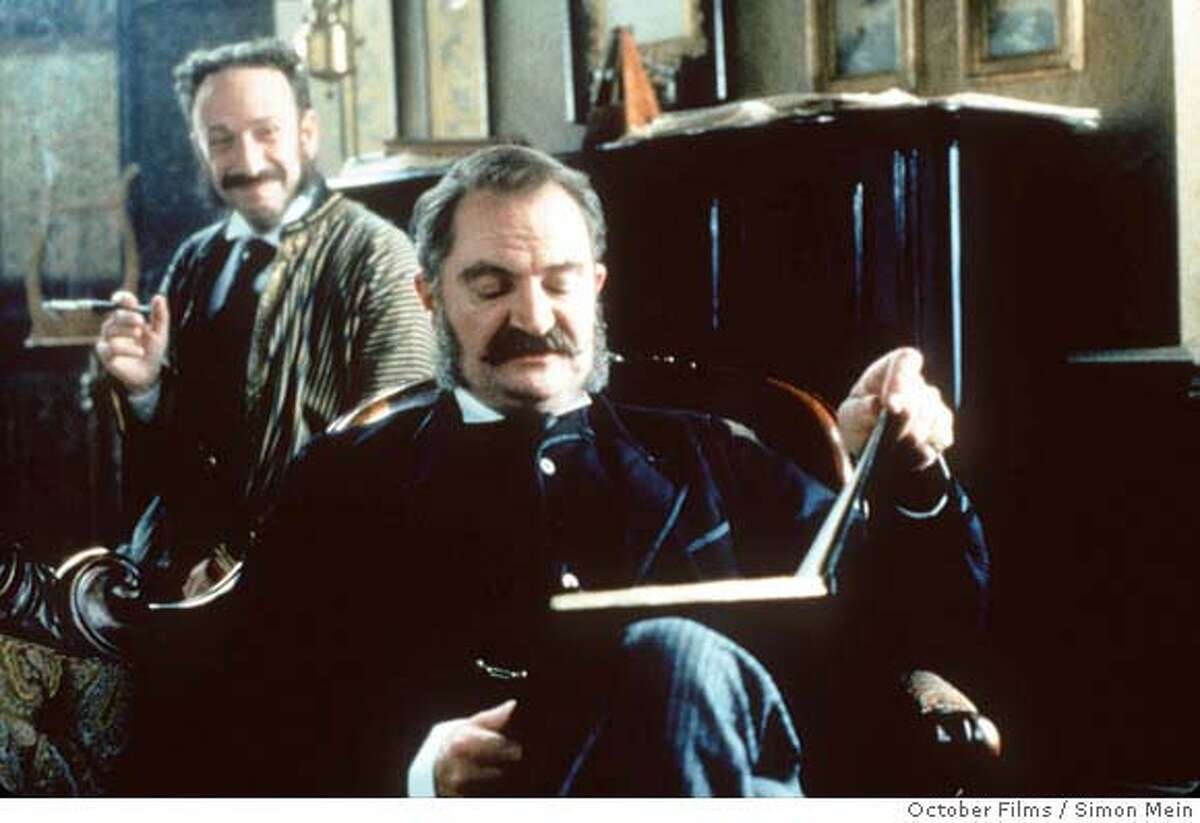 Arthur Sullivan, left, played by Allan Corduner, listens to writing partner W.S. Gilbert played by Jim Broadbent in the Mike Leigh film