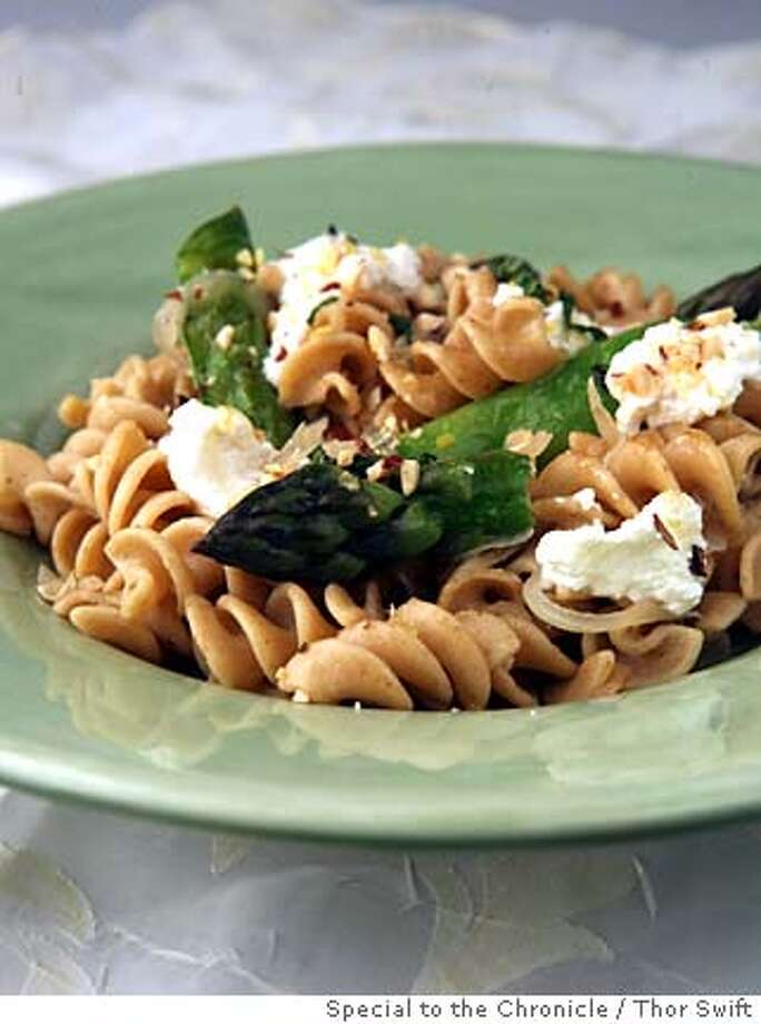 Pasta with sugar snap peas, asparagus ricotta and brown butter, photographed Thursday, April 10, 2008 at the San Francisco Chronicle studio.  Thor Swift For The San Francisco Chronicle  Styled by Maryann Smitt  Ran on: 04-30-2008 Photo: Thor Swift