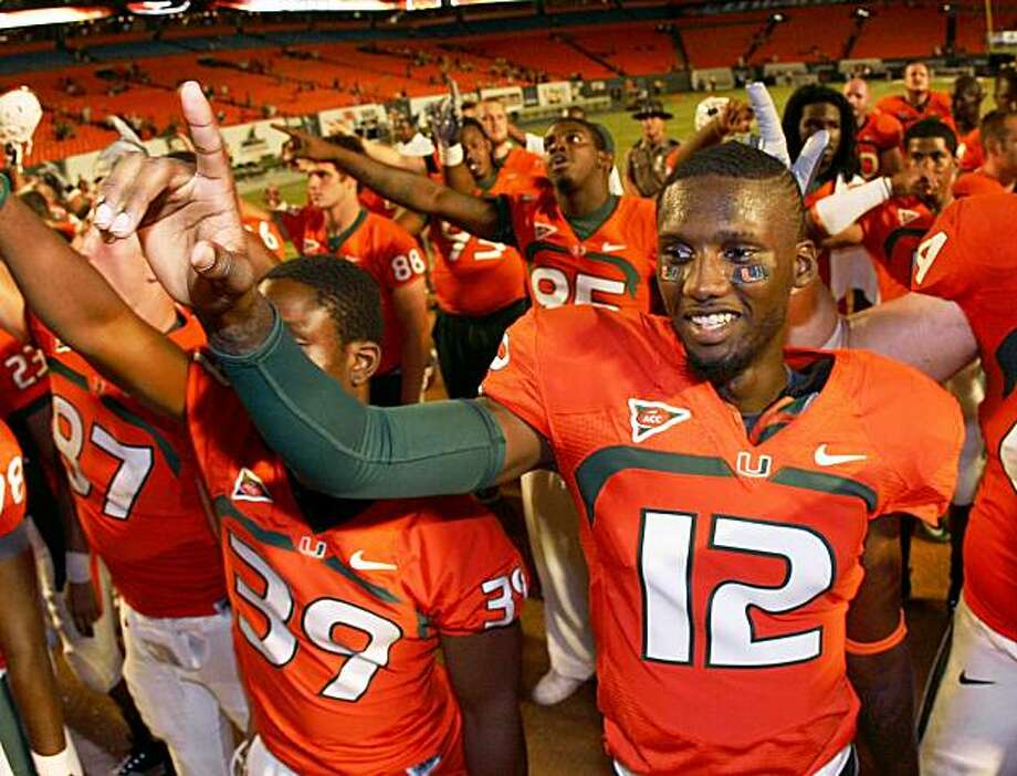 FORT LAUDERDALE, FL - SEPTEMBER 17:  Quarterback Jacory Harris #12 of the Miami Hurricanes celebrates after defeating the Georgia Tech Yellow Jackets at Land Shark Stadium on September 17, 2009 in Fort Lauderdale, Florida. Miami defeated Georgia Tech 33-17.  (Photo by Doug Benc/Getty Images) Photo: Doug Benc, Getty Images