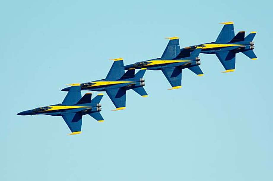 The Blue Angels fly in formation over the city as part of fleet week festivities in San Francisco, Calif., on Sunday, October 12, 2008. Photo: Laura Morton, Special To The Chronicle