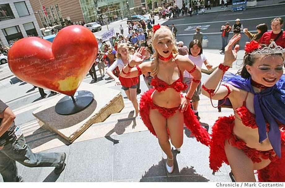 ###Live Caption:Kerri Myers, center and Kellita Maloof, right lead a dance line at a National Dance Week kick-off event on Union Square on Friday, April 25, 2008 in San Francisco, Calif. Photo by Mark Costantini / San Francisco Chronicle.###Caption History:Kerri Myers, center and Kellita Maloof, right leada dane line at a National Dance Week kick-off event on Union Square on Friday, April 25, 2008 in San Francisco, Calif. Photo by Mark Costantini / San Francisco Chronicle.###Notes:###Special Instructions:MANDATORY CREDIT FOR PHOTOG AND SAN FRANCISCO CHRONICLE/NO SALES-MAGS OUT Photo: Mark Costantini