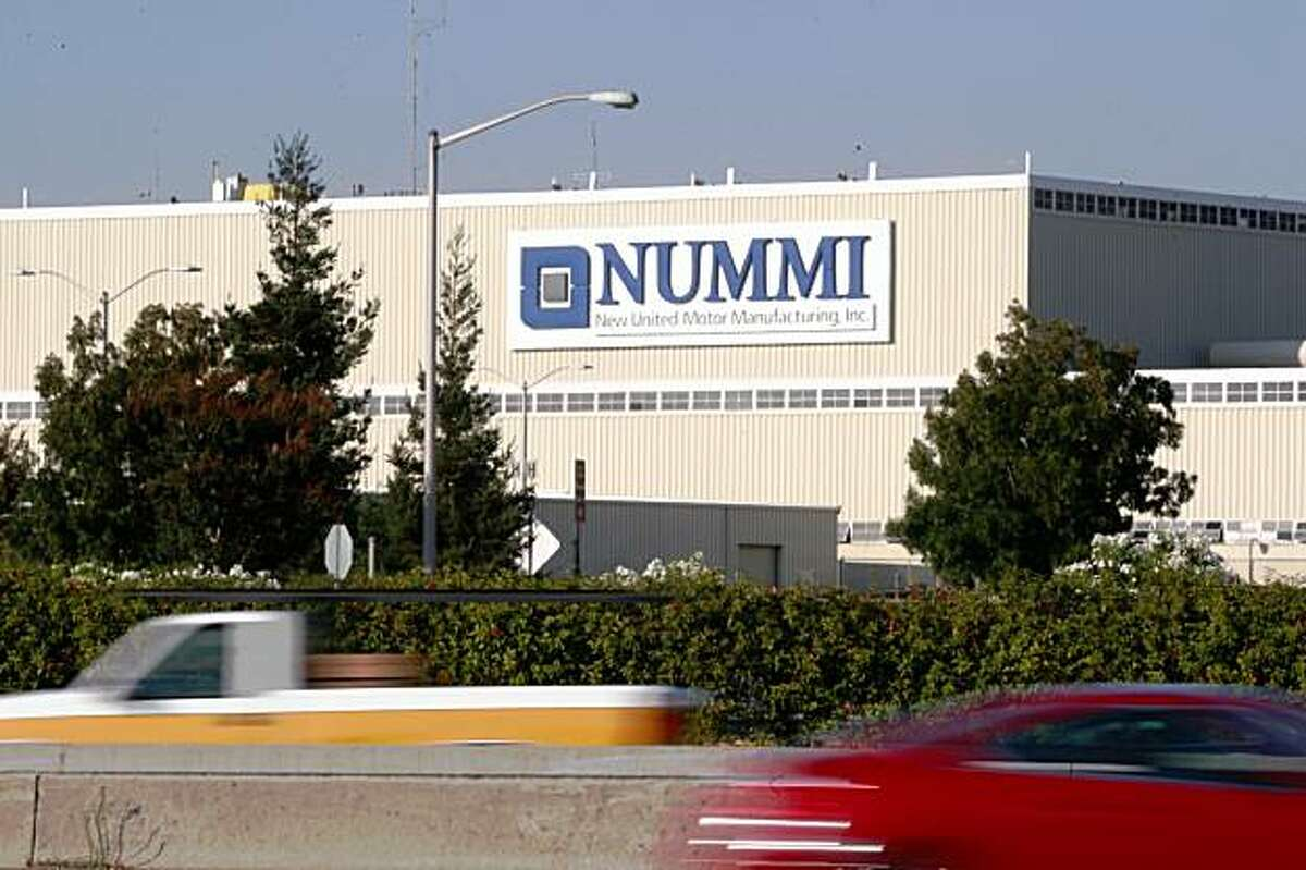 The Nummi sign on the plant in Fremont, Calif. looms above I880 on Thursday, August 20, 2009.