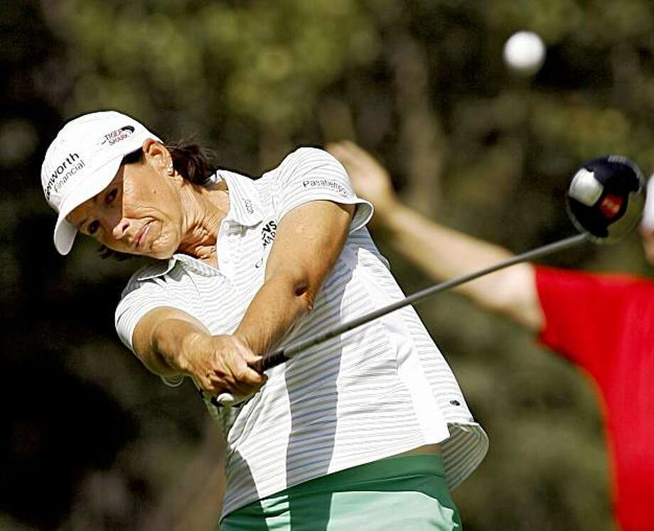 American Juli Inkster tees off on the third tee during the first round at the LPGA Canadian Open golf tournament at Priddis Greens, near Calgary, Alberta, on Thursday, Sept. 3, 2009. (AP Photo/The Canadian Press, Jeff McIntosh) Photo: Jeff McIntosh, AP