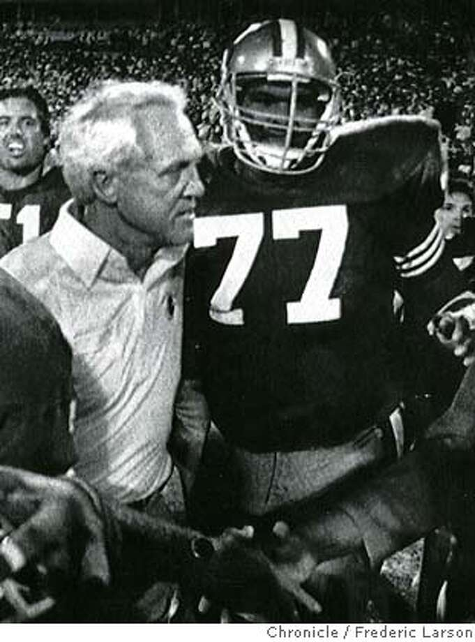 ###Live Caption:afd###Caption History:23 JAN 89  Roger Craig (L), Coach Bill Walsh (left center) and Bubba Paris leave the field after a 21-15 win###Notes:###Special Instructions: Photo: Df