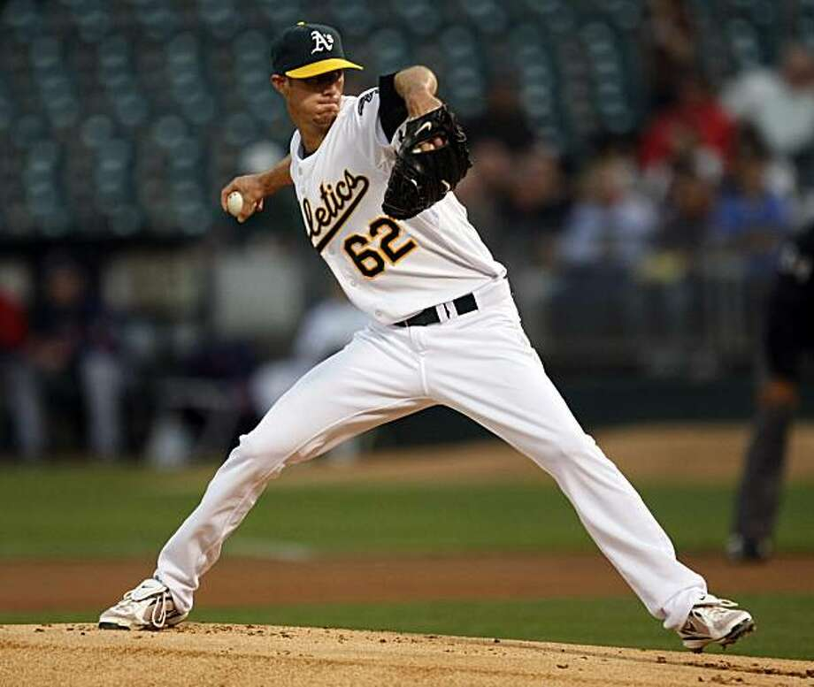 Oakland Athletics starter Clayton Mortensen  throws to the Cleveland Indians during the first inning of a baseball game in Oakland, Calif., Thursday, Sept. 17, 2009. (AP Photo/Marcio Jose Sanchez) Photo: Marcio Jose Sanchez, AP