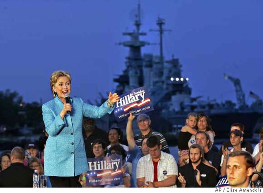 ###Live Caption:With the USS North Carolina battleship as a backdrop, Democratic presidential hopeful, Sen. Hillary Rodham Clinton, D-N.Y., speaks at a campaign event in Wilmington, N.C. Sunday, April 27, 2008. (AP Photo/Elise Amendola)###Caption History:With the USS North Carolina battleship as a backdrop, Democratic presidential hopeful, Sen. Hillary Rodham Clinton, D-N.Y., speaks at a campaign event in Wilmington, N.C. Sunday, April 27, 2008. (AP Photo/Elise Amendola)###Notes:Hillary Rodham Clinton###Special Instructions: Photo: Elise Amendola