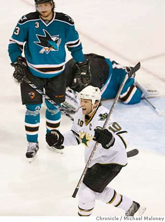 ###Live Caption:Dallas Stars Brenden Morrow, bottom, celebrates his third period goal over a fallen San Jose Sharks goalie Evgeni Nabokov as San Jose Sharks Douglas Murray looks on. Dallas scored four times in the third period to pull ahead of the Sharks and win 5-2 in game two of the NHL Western Conference Semifinals at HP Pavilion in San Jose, Calif., on April 27, 2008.  Photo by Michael Maloney / San Francisco Chronicle###Caption History:Dallas Stars Brenden Morrow, bottom, celebrates his third period goal over a fallen San Jose Sharks goalie Evgeni Nabokov as San Jose Sharks Douglas Murray looks on. Dallas scored four times in the third period to pull ahead of the Sharks and win 5-2 in game two of the NHL Western Conference Semifinals at HP Pavilion in San Jose, Calif., on April 27, 2008.  Photo by Michael Maloney / San Francisco Chronicle###Notes:###Special Instructions:MANDATORY CREDIT FOR PHOTOG AND SAN FRANCISCO CHRONICLE/NO SALES-MAGS OUT Photo: Michael Maloney