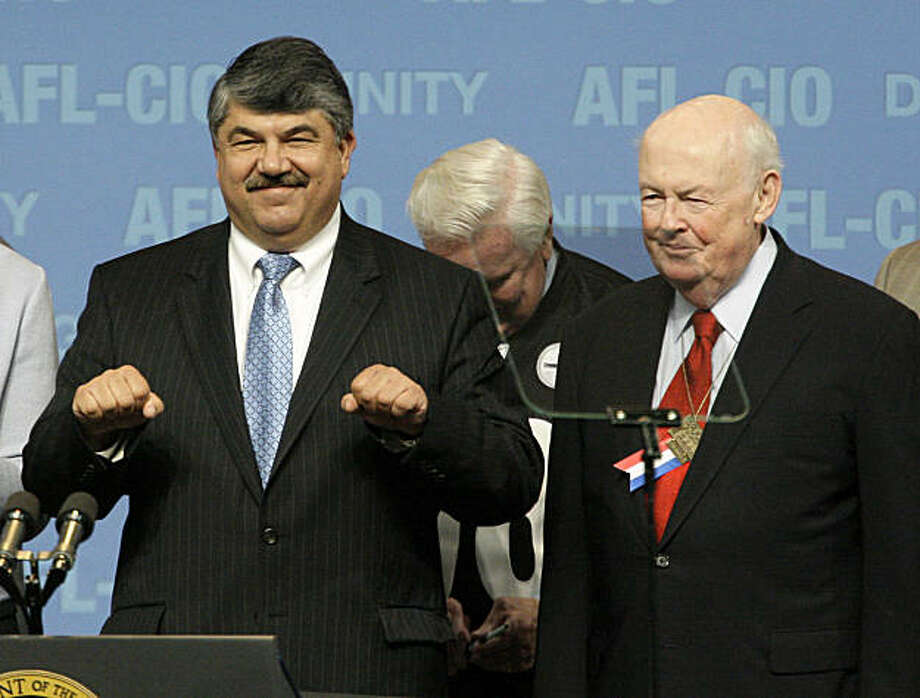 In this Sept. 15, 2009 photo, then, AFL-CIO Secretary-Treasurer Richard Trumka, left, stands with AFL-CIO President John J. Sweeney, right, after hearing President Barack Obama address the delegates attending the AFL-CIO convention in Pittsburgh. Union members have formally elected Richard Trumka as the AFL-CIO's first new president in 14 years Wednesday, Sept. 16. (AP Photo/Gene J. Puskar) Photo: Gene J. Puskar, AP