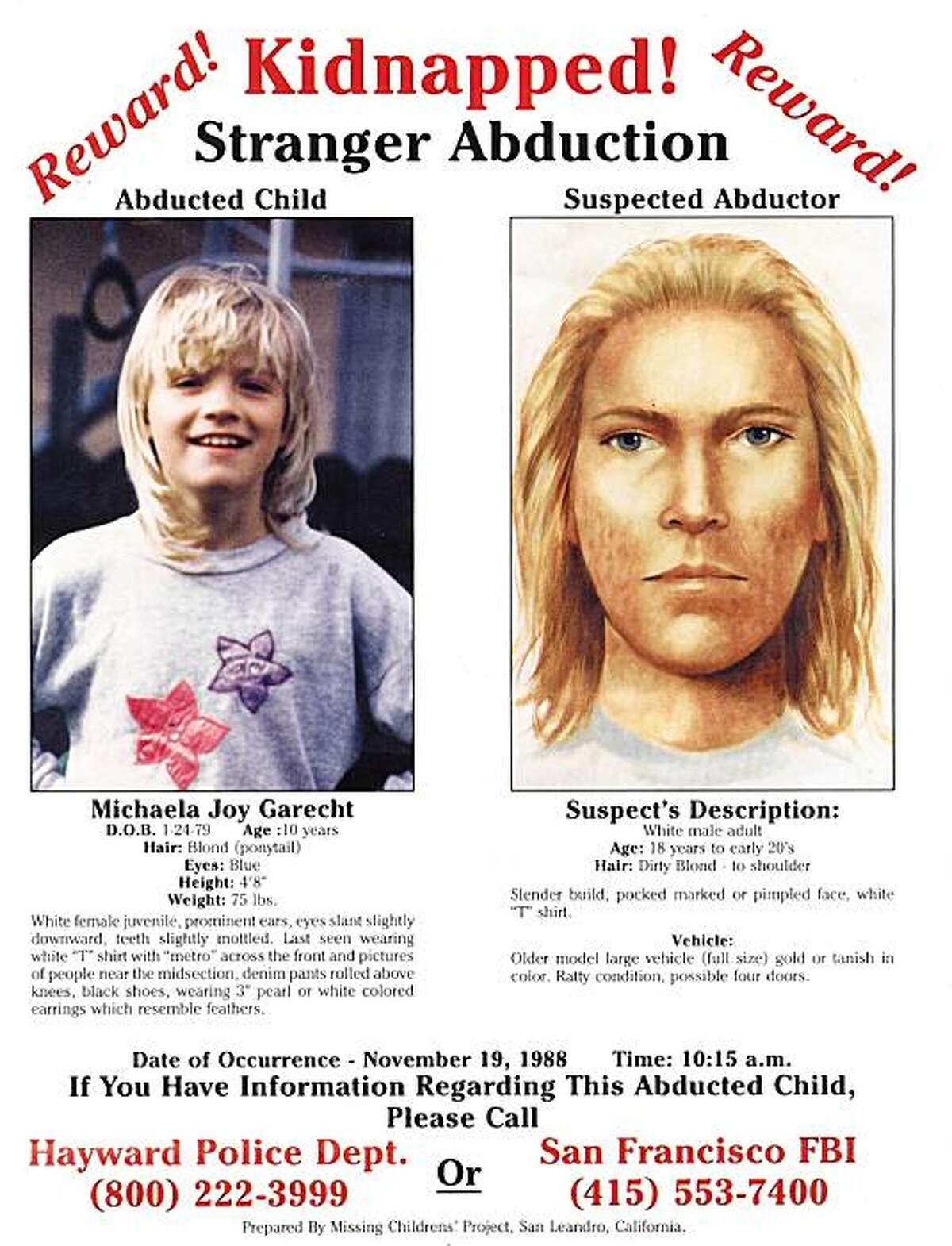 MICHAELA GARECHT MISSING CHILD AND POSSIBLE SUSPECT SKETCH. MICHAELA WAS MISSING, POSSIBLY KIDNAPPED FROM HER HAYWARD HOME AND HAS NEVER BEEN FOUND. ALSO RAN: 12/29/1999