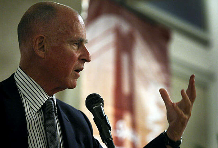California Attorney General Jerry Brown delivers a keynote address to the Geary Boulevard Merchants Association in San Francisco, Calif., on Wednesday, Sept. 16, 2009. Photo: Paul Chinn, The Chronicle